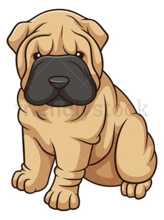 Cute shar pei dog puppy. PNG - JPG and vector EPS (infinitely scalable).