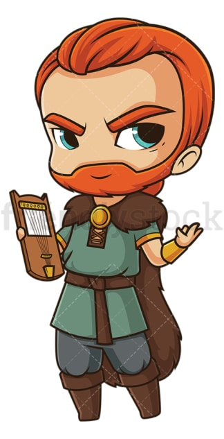 Chibi god bragi. PNG - JPG and vector EPS file formats (infinitely scalable). Image isolated on transparent background.