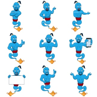 Blue genie mascot. PNG - JPG and infinitely scalable vector EPS - on white or transparent background.