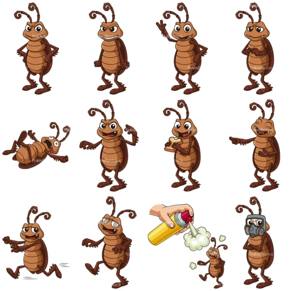 Cockroach cartoon mascot. PNG - JPG and vector EPS file formats (infinitely scalable). Images isolated on transparent background.