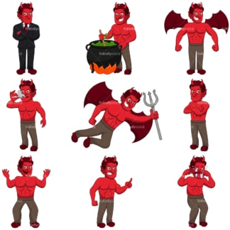 Red demons. PNG - JPG and infinitely scalable vector EPS - on white or transparent background.