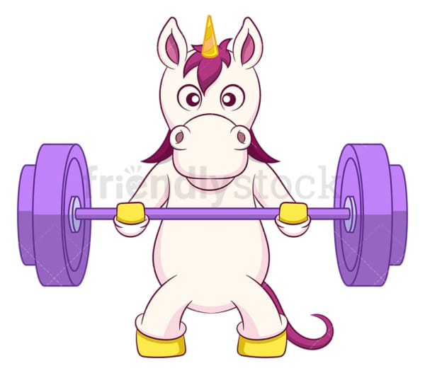 Unicorn lifting barbell. PNG - JPG and vector EPS (infinitely scalable).