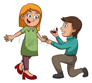 Caucasian couple getting engaged. PNG - JPG and vector EPS (infinitely scalable).