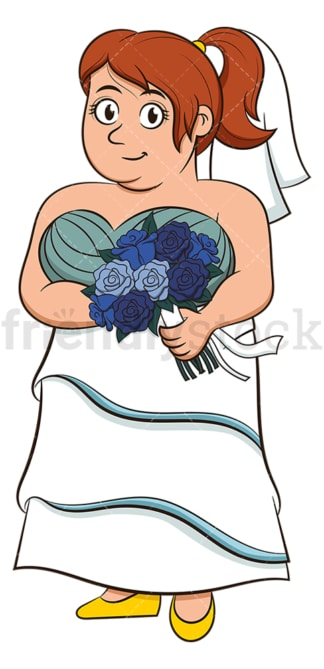 Chubby bride holding bouquet. PNG - JPG and vector EPS (infinitely scalable).