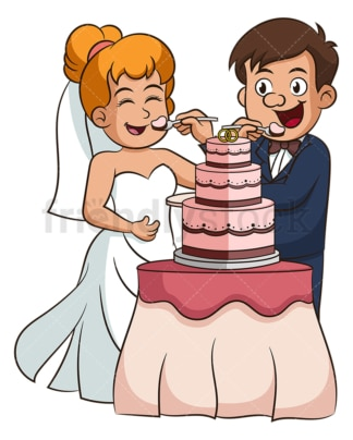 Bride and groom eating cake. PNG - JPG and vector EPS (infinitely scalable).