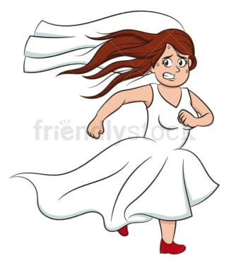 Bride running away. PNG - JPG and vector EPS (infinitely scalable).