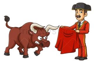 Matador taunting bull. PNG - JPG and vector EPS (infinitely scalable).