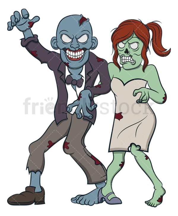 Zombie bride and groom. PNG - JPG and vector EPS (infinitely scalable).