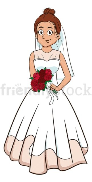 Caucasian bride holding bouquet. PNG - JPG and vector EPS (infinitely scalable).