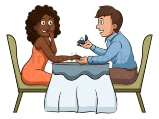 Interracial couple getting engaged. PNG - JPG and vector EPS (infinitely scalable).