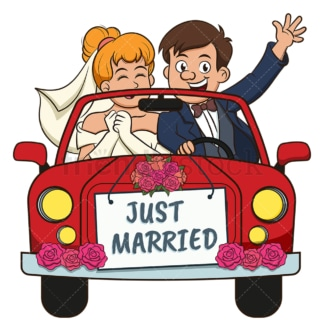 Just married couple in car. PNG - JPG and vector EPS (infinitely scalable).
