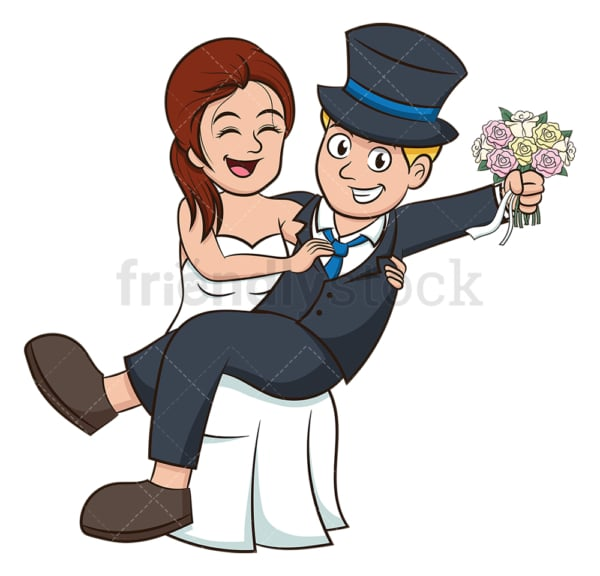 Bride holding groom in arms. PNG - JPG and vector EPS (infinitely scalable).