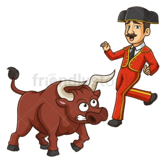 Bullfighter getting hit by angry bull. PNG - JPG and vector EPS (infinitely scalable).