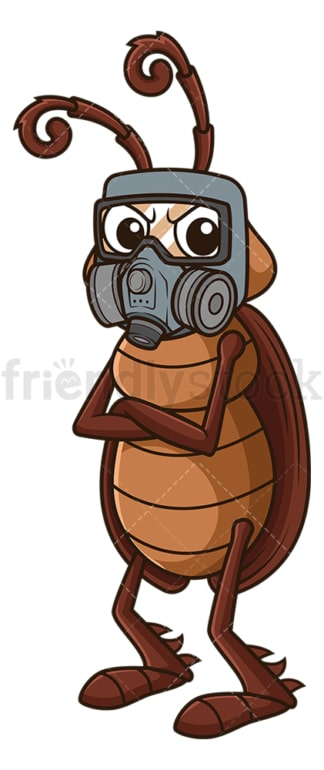 Cockroach wearing gas mask. PNG - JPG and vector EPS file formats (infinitely scalable). Image isolated on transparent background.