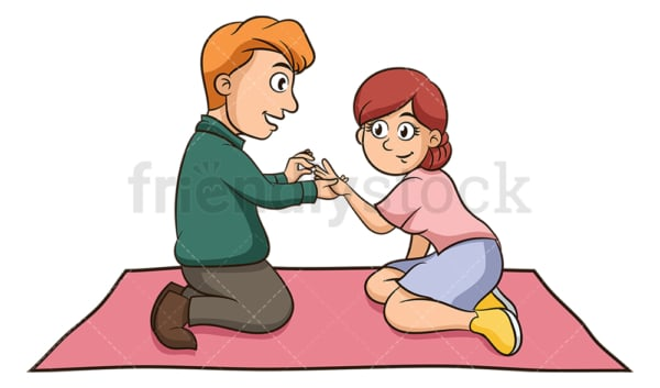 Couple getting engaged romantic picnic. PNG - JPG and vector EPS (infinitely scalable).