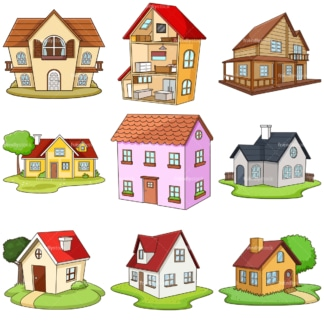 Cartoon houses. PNG - JPG and infinitely scalable vector EPS - on white or transparent background.