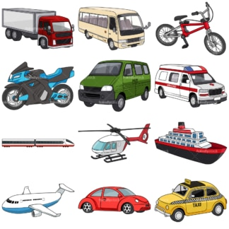 Transportation vehicles. PNG - JPG and vector EPS file formats (infinitely scalable). Images isolated on transparent background.