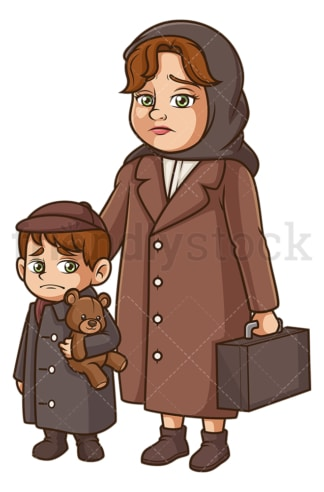 Mother and child evacuees. PNG - JPG and vector EPS (infinitely scalable).