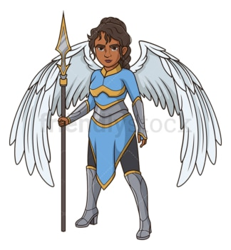 Winged valkyrie with spear. PNG - JPG and vector EPS (infinitely scalable).