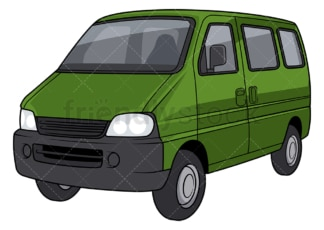 Green van. PNG - JPG and vector EPS file formats (infinitely scalable). Image isolated on transparent background.