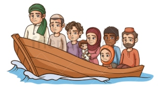 Refugees in boat. PNG - JPG and vector EPS (infinitely scalable).