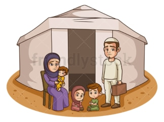 Family in refugee camp. PNG - JPG and vector EPS (infinitely scalable).