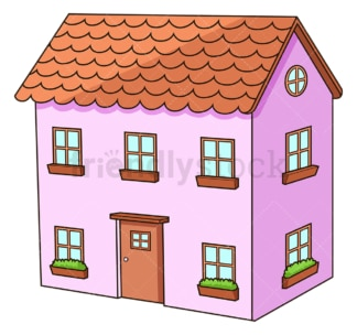 Pink house with two floors. PNG - JPG and vector EPS (infinitely scalable).