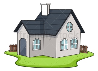 House with fence. PNG - JPG and vector EPS (infinitely scalable).