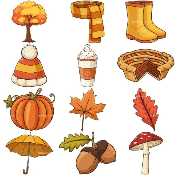 Autumn items. PNG - JPG and vector EPS file formats (infinitely scalable). Images isolated on transparent background.