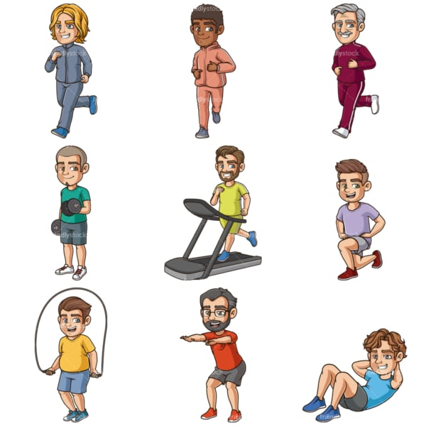 Cartoon men working out. PNG - JPG and infinitely scalable vector EPS - on white or transparent background.