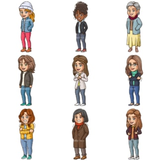 Cartoon women wearing winter clothes. PNG - JPG and infinitely scalable vector EPS - on white or transparent background.