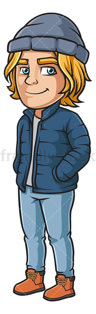 Caucasian man wearing winter clothes. PNG - JPG and vector EPS (infinitely scalable).