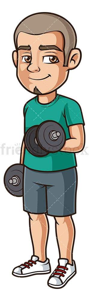 Hispanic man lifting dumbbells. PNG - JPG and vector EPS (infinitely scalable).