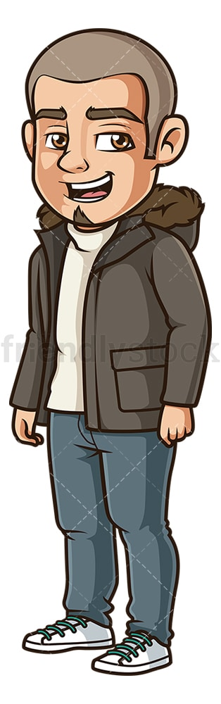 Hispanic man wearing winter clothes. PNG - JPG and vector EPS (infinitely scalable).