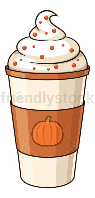 Pumpkin spice latte. PNG - JPG and vector EPS file formats (infinitely scalable). Image isolated on transparent background.