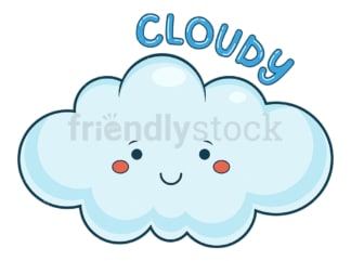 Weather emoji cloudy. PNG - JPG and vector EPS file formats (infinitely scalable). Image isolated on transparent background.