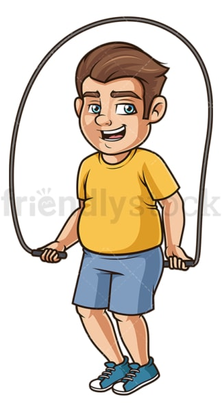 Chubby man jump rope. PNG - JPG and vector EPS (infinitely scalable).