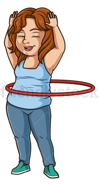 Chubby woman hula hoop. PNG - JPG and vector EPS (infinitely scalable).