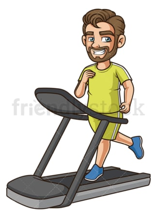 Cheerful guy running on treadmill. PNG - JPG and vector EPS (infinitely scalable).