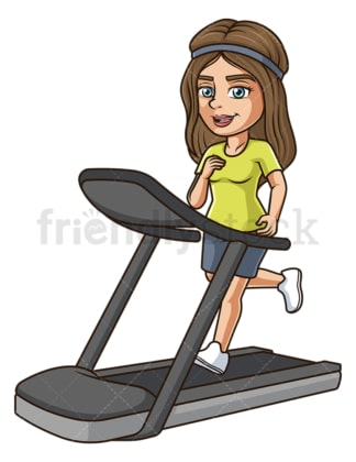 Woman running on treadmill. PNG - JPG and vector EPS (infinitely scalable).