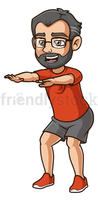 Middle-Aged man doing squats. PNG - JPG and vector EPS (infinitely scalable).