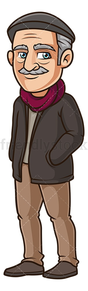 Old man dressed for winter. PNG - JPG and vector EPS (infinitely scalable).