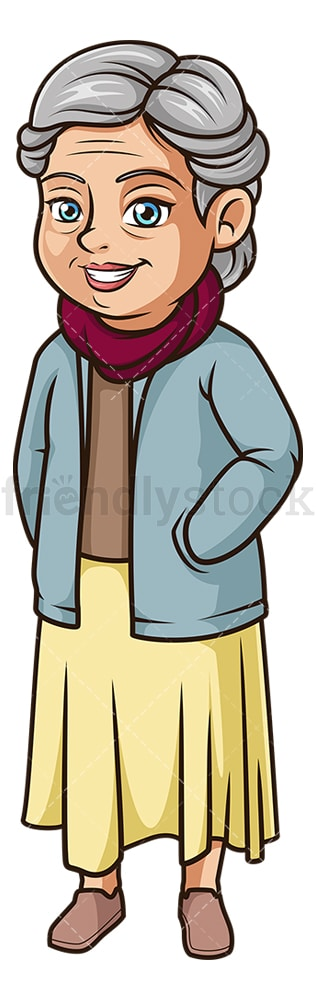 Old woman dressed for winter. PNG - JPG and vector EPS (infinitely scalable).