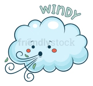 Weather emoji windy. PNG - JPG and vector EPS file formats (infinitely scalable). Image isolated on transparent background.