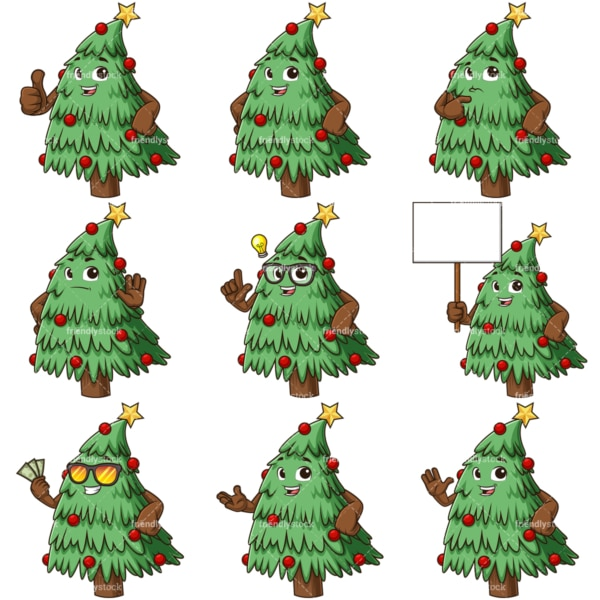 Christmas tree mascot. PNG - JPG and infinitely scalable vector EPS - on white or transparent background.