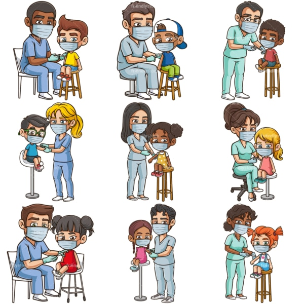 Kids getting covid-19 vaccine. PNG - JPG and infinitely scalable vector EPS - on white or transparent background.