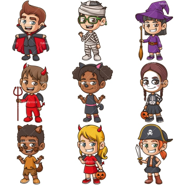 Kids in halloween costumes. PNG - JPG and infinitely scalable vector EPS - on white or transparent background.