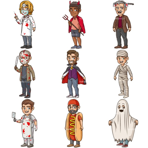 Men in halloween costumes collection. PNG - JPG and infinitely scalable vector EPS - on white or transparent background.