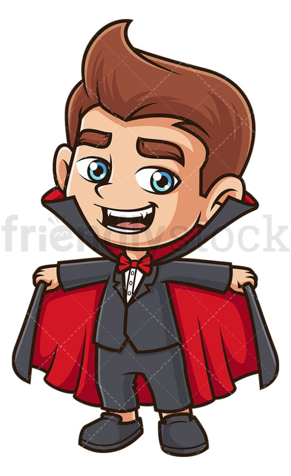 Kid vampire costume. PNG - JPG and vector EPS (infinitely scalable).