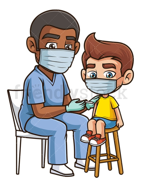 Little boy getting vaccinated covid-19. PNG - JPG and vector EPS (infinitely scalable).